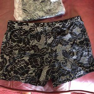 Balera black and silver lace dance costume shorts